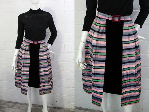 1950s Open Taffeta Skirt with Velvet Belt Buckle