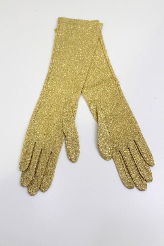 Vintage 1950s/1960s Gold Glitter Evening Gloves, … - image 6