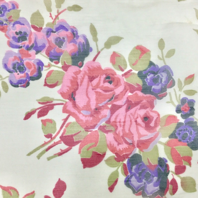 Sold as a Lot W 40 Pretty! 5+Yards Vintage 50/'s Sheer Pink Purple Rose Chiffon Fabric Yardage 1950s Floral Dressmaking Fabric