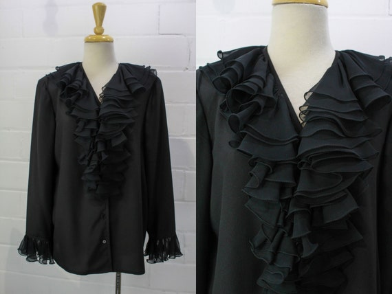 Vintage 1980s Black Double Ruffle Collared Blouse,