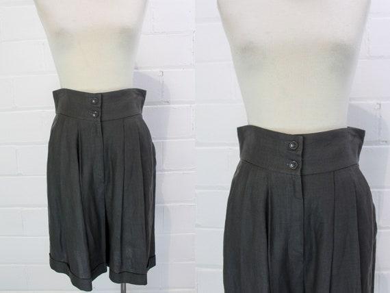 Vintage 1980s Linen Charcoal Bermuda Shorts, Dress