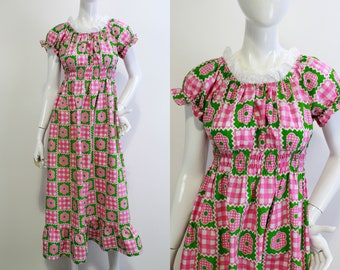 1970s Prairie Dress, Puff Sleeves, Small, Cottagecore Style, Pink and Green Gingham Floral Print, Vintage 70s Summer Maxi Dress Ruffle Hem