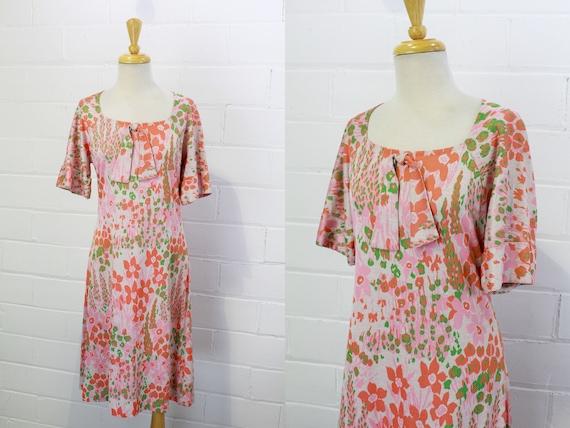 Vintage 1980s Peach Pink Floral Cotton Knit Dress,