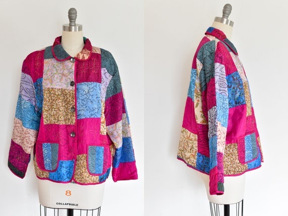 Vintage 1980s Quilted Patchwork Silk Jacket,