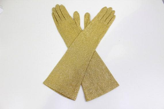 Vintage 1950s/1960s Gold Glitter Evening Gloves, … - image 5