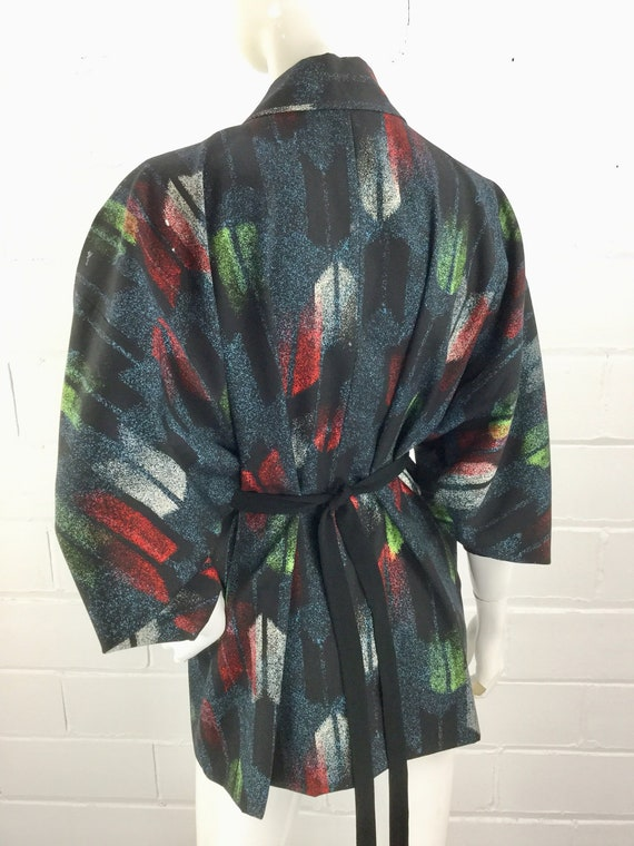 1980s Black Red Green Abstract Print Japanese Cardigan with Tie Front Beautiful Painterly Print Vintage 80s Haori  Lined Kimono Jacket