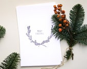 Merry Christmas Card, Season's Greetings Card on handmade paper, handmade holiday card, handstamped with floral wreath & letterin