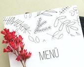 10x Menu Cards | Wedding Menu | Floral Menu Card | Botanical Wedding | Green Wedding | Black and white wedding | Wedding Dinner Menu |
