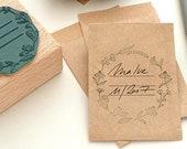 Seed packet stamp #01, flower wreath stamp, label stamp, Stamp gift for gardener, seed packet wedding, Gardening Gift, ex libris stamp