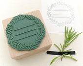 Floral Wreath Stamp, rosemary, Stamp Kitchen Labels, botanical, ex libris stamp, label stamp, kitchen stamp, Food Gift Tags, Bakers Stamp