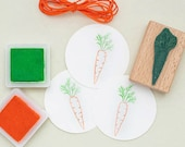 Rubber Stamp Carrot, Happy Easter, mini stamp, easter stamp, vegetable stamp, veggie stamp, mini carrot stamp, easter gift tag, garden grown