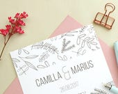 10x Wedding Invitation Cards | Custom Wedding Invitation | Floral Wedding | Green Wedding | Black and white wedding invites | Invite Set