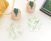 Mini Stamps Set Succulents, Floral Rubber Stamp, Succulent Stamp, Flower Stamp, Botanical Stamp, Stamp Gift Tags, Wooden Stamp, Plant Stamp