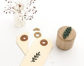Mini Stamp Twig with Leaves, Rubber Stamp, Leaf Stamp, Branch Stamp, Stamp for Gift Tags, Wooden Stamp, Buju Stamp, Stamp for Place Cards