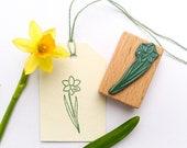 Stamp daffodil, spring deco, easter stamp, easter greetings, plant stamp, flower stamp, garden stamp, floral stamp, gardeners