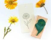 Rubber Stamp Marigold, flower stamp, floral rubber stamp, botanical stamp, gardeners stamp, gardeners gift, marigold stamp, scrapbooking,