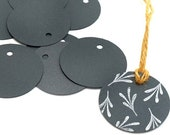 Circle Gift Tags, black, Set of 10 eco-friendly gift tags, hang tags, parcel tags, recycling paper, gift tags round, weddings favors