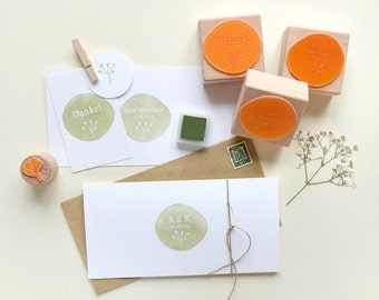 Custom made Wedding Rubber Stamps | Save the date! | Thank you stamp | flower | STUDIO KARAMELO