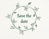 Save the date stamp, Wedding rubber stamp, floral wreath stamp, floral rubber stamp, Wedding Favor Stamp, Wreath Stamp, Wedding stamp