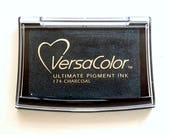 Grey Ink pad VersaColor, Charcoal, Anthracite Inkpad, Water-based Pigment Ink Pad Large, Rubber Stamp Ink, Versa-Color, No. 174, dark grey