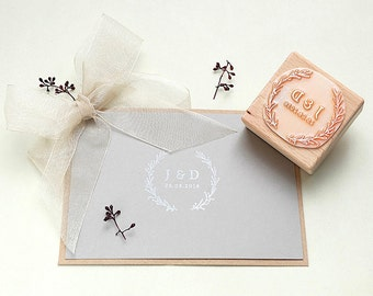 Wedding stamp, Floral Wreath Stamp, Custom Wedding Stamp, Wedding Favor Stamp, Initial Stamp, Monogram Stamp, Custom Wedding Invitation