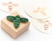 Rubber Stamp Bee, bee stamp, beekeeping stamp, wooden stamp, garden stamp, gift for gardener, mini stamp bee, honeybee,