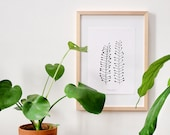 Botanical Print | Pennycress | recycling paper | Floral Print | A4 | Floral Illustration | Urban Jungle Print | Black and White