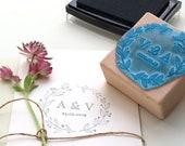 Floral Wedding Stamp, Custom Wedding Stamp, Initial Wedding Stamp, Valentine Stamp, Flower Wreath Stamp, Wedding Favor Stamp, Wedding Date