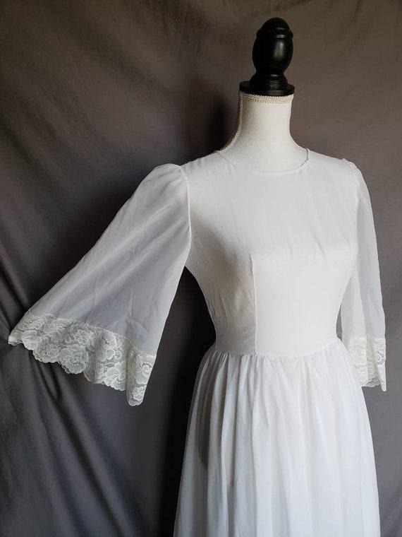 Vintage 70s sheer angel bell sleeve dress/nightie