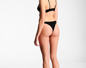 Sexy Lingerie Panties- High Cut thong- Black - 80 s Retro Style Comfortable  Underwear 879efca62