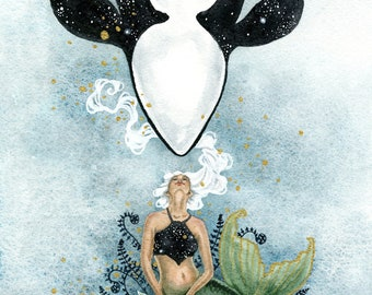 Mermaid Art Watercolor Print - Ocean's Galaxy - fantasy art. whale art. whimsical. illustration. fantastical.