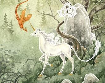 Unicorn Art Watercolor Print - Autumn Approaches - fantasy art. dragon. fantastical. mythological. fairy tale. illustration.