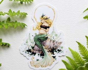 Mermaid Art Sticker - Dreaming of Motherhood - fantasy art. whimsical. pregnancy. expecting. fairy tale.