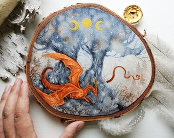 Dragon Art Wood Slice Painting - Autumn's Mood - fantasy art. watercolor art. fantastical. mythological. wild.