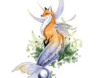 Fox Art Print - Woodland Merfox - fantasy art. mermaid. whimsical. mythological. cute.