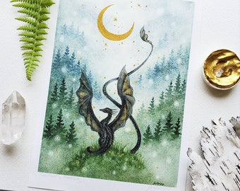 Dragon Art Watercolor Print - Mountain's Morning - fantasy art. wild. misty pines. forest. fairy tale. mythological.