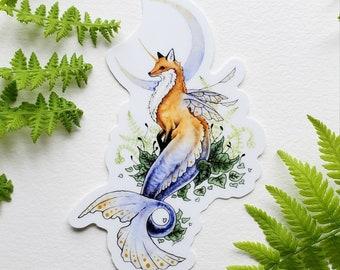 Fox Art Sticker - Woodland Merfox - fantasy art. whimsical. mermaid. cute. illustration.
