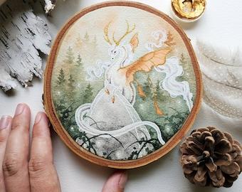 Fantasy Art Wood Slice Painting - Forest Fantasy - watercolor art. unicorn. dragon. fairy tale. mythological. fantastical.