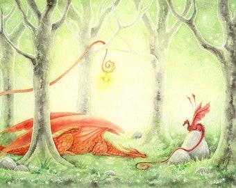 SALE - Dragon Art Watercolor Print - Flame of Spring - fantasy art. forest. enchanted. magical. mythological. trees. fantastical.