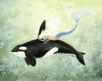 Mermaid Art Print - Orca Swimmer - fantasy art. watercolor art. ocean. magical. sea. summer. whale.