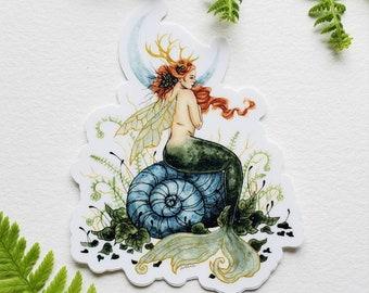 Mermaid Art Sticker - Woodland Mermaid - fantasy art. whimsical. woodland. mythology. fairy tale.