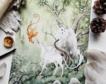 Unicorn Art Original Watercolor Painting - Autumn Approaches - fantasy art. dragon. fantastical. fairy tale. mythological.