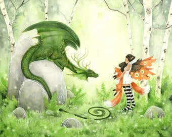 SALE - Fairy Art Watercolor Print - 11x14 - Mr. Foxy Meets a Dragon - fantasy art. painting. fairy. cute. forest. nature. trees. fox.