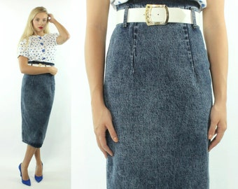051fd6e7d 80s High Waisted Denim Skirt Stone Washed Dark Blue Pencil Fitted Wiggle  Vintage 1980s Medium M Zena