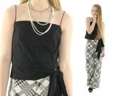 Vintage 80s Blouse Camisole Top Black Chiffon Top Crop Cami Peplum Shirt Disco Top 1980s Medium M