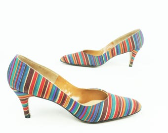 25a7687231b9 Vintage 60s Pumps Striped Silk High Heels Dress Shoes 1960s DeLiso Size 9