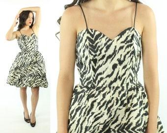 ed7de5260f 80s Bubble Prom Party Dress Zebra Print Sleeveless Mini Dress Vintage 1980s  Small S Medium M Black White Teen