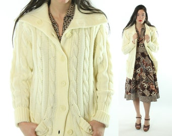 70s Ivory Cardigan Sweater Slouchy Grandpa Button Up Cable Knit Vintage  1970s Medium M Hippie Boho f3d7d2633