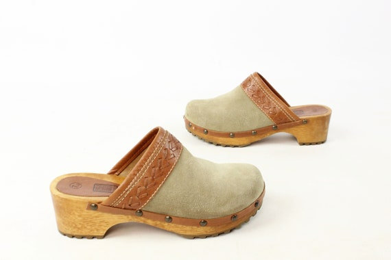 Vintage 70's Suede Leather Clogs 1970's Size 7 1/2
