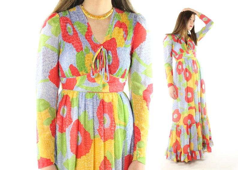 74e2a3fa6bf Vintage 70s Floral Maxi Dress Candi Jones Long Sleeves Smocked